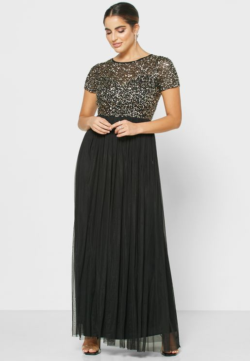 Sequin Tulle Maxi Dress