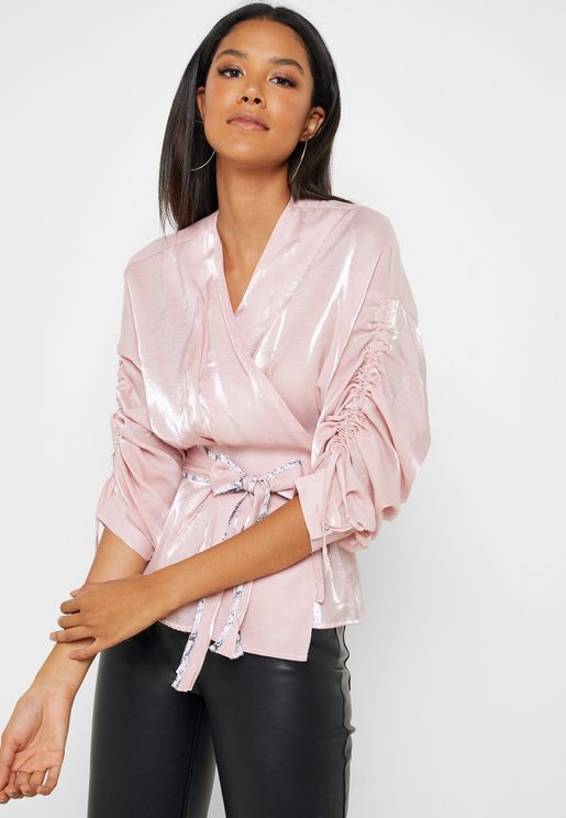 Ruched Sleeve Wrap Top