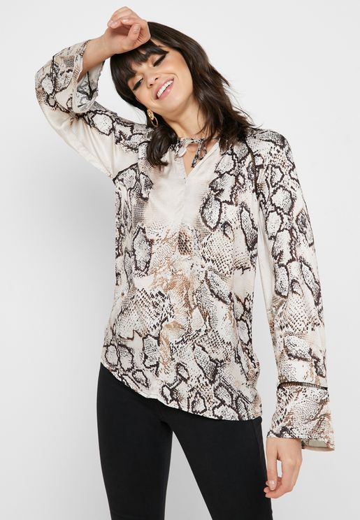 Tie Neck Printed Top