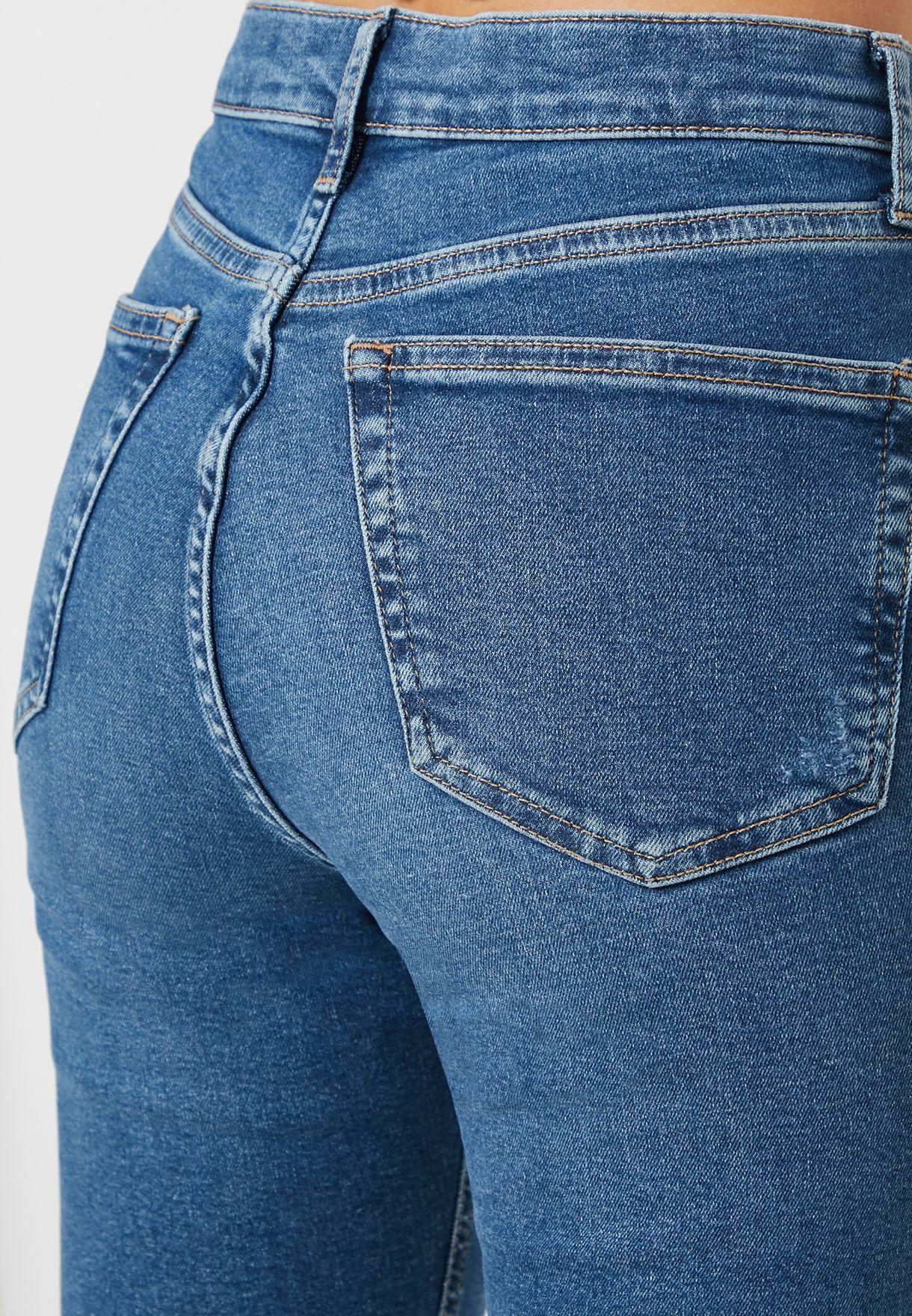 بنطال جينز سكيني بخصر مرتفع