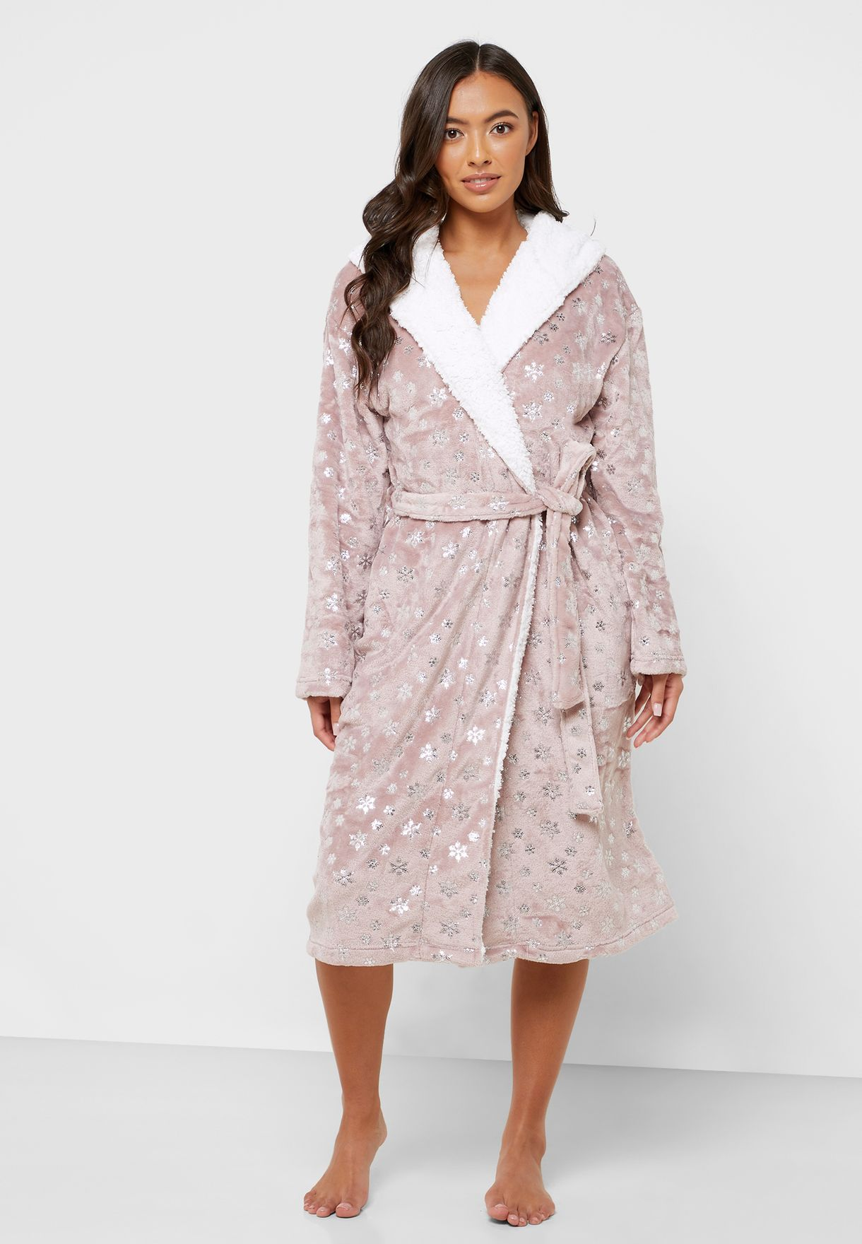 Metallic Belted Hooded Robe