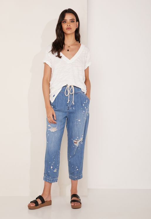 Ripped Tie Waist Jeans