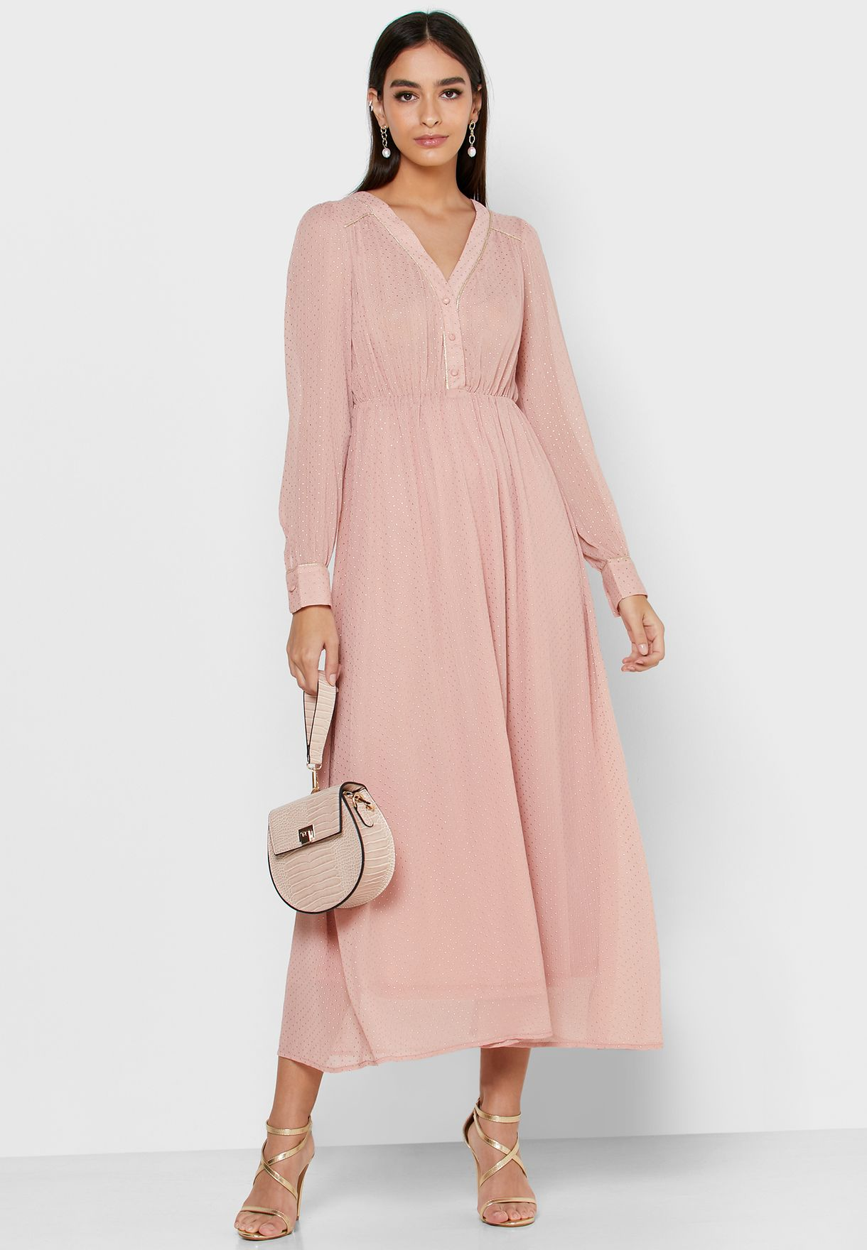 Embellished Button Front Maxi Dress