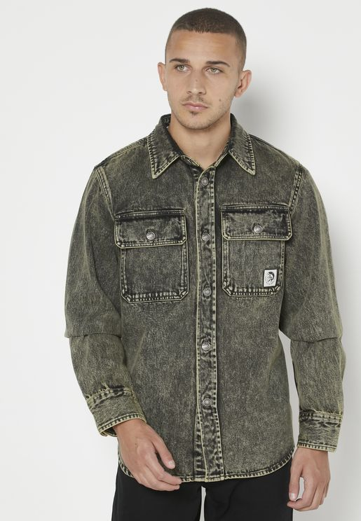 Light Wash Relaxed Denim Shirt