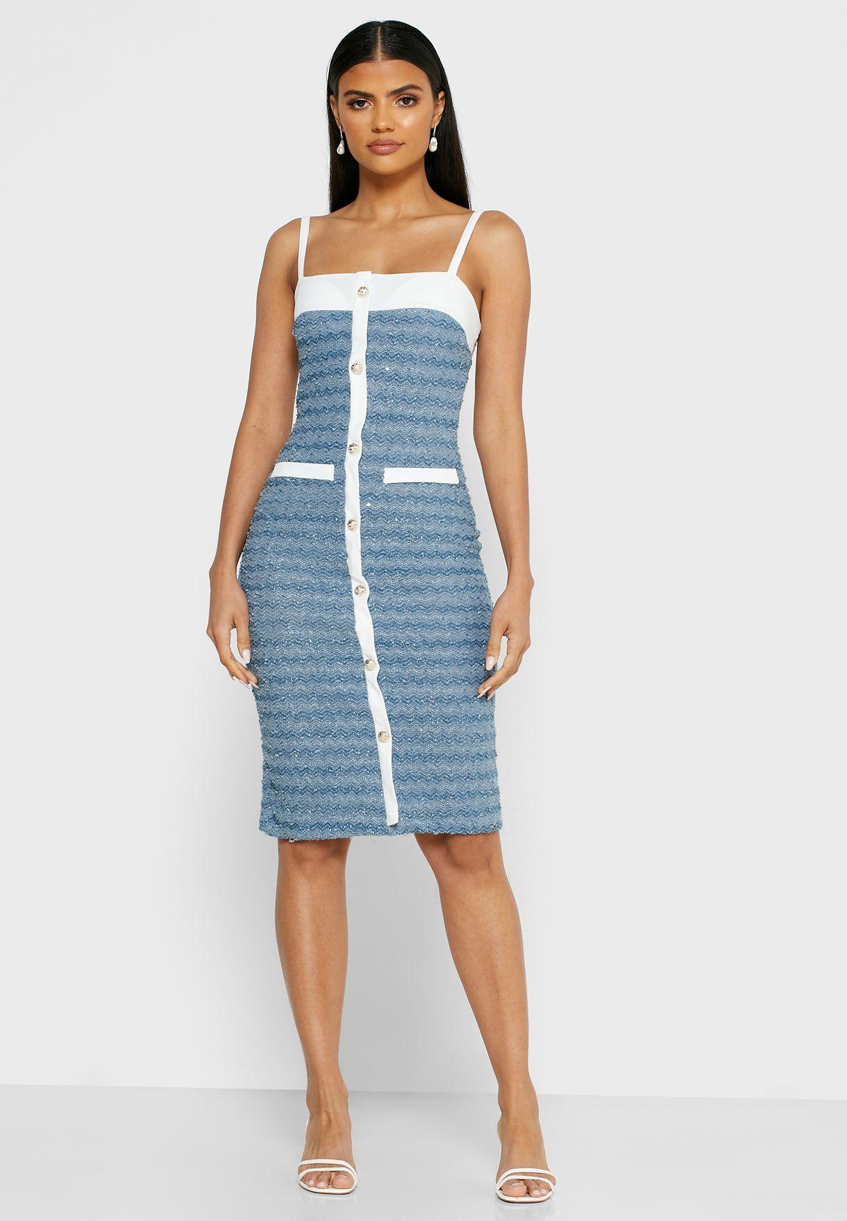 Contrast Trim Button Down Mini Dress