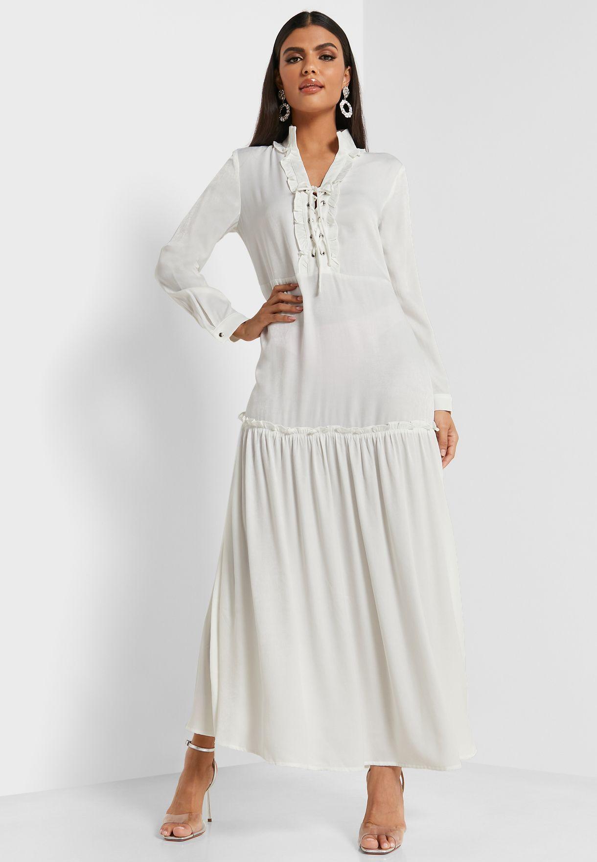 فستان ماكسي مكشكش بأربطة