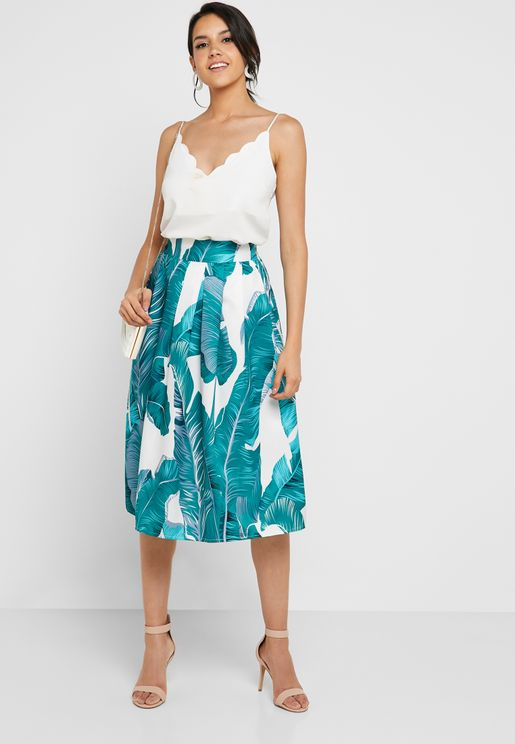 Printed Box Pleat Midi Skirt