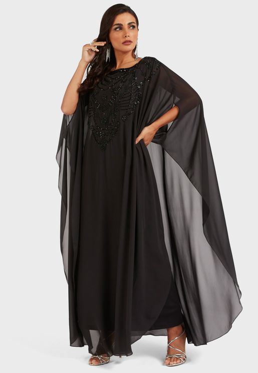 Embellished Front Cape Detail Kaftan Dress