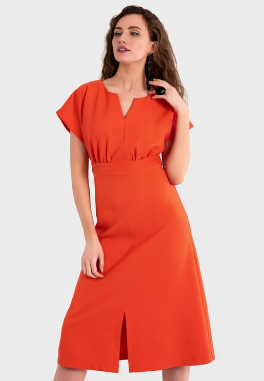 Front Keyhole Wide Sleeve Dress