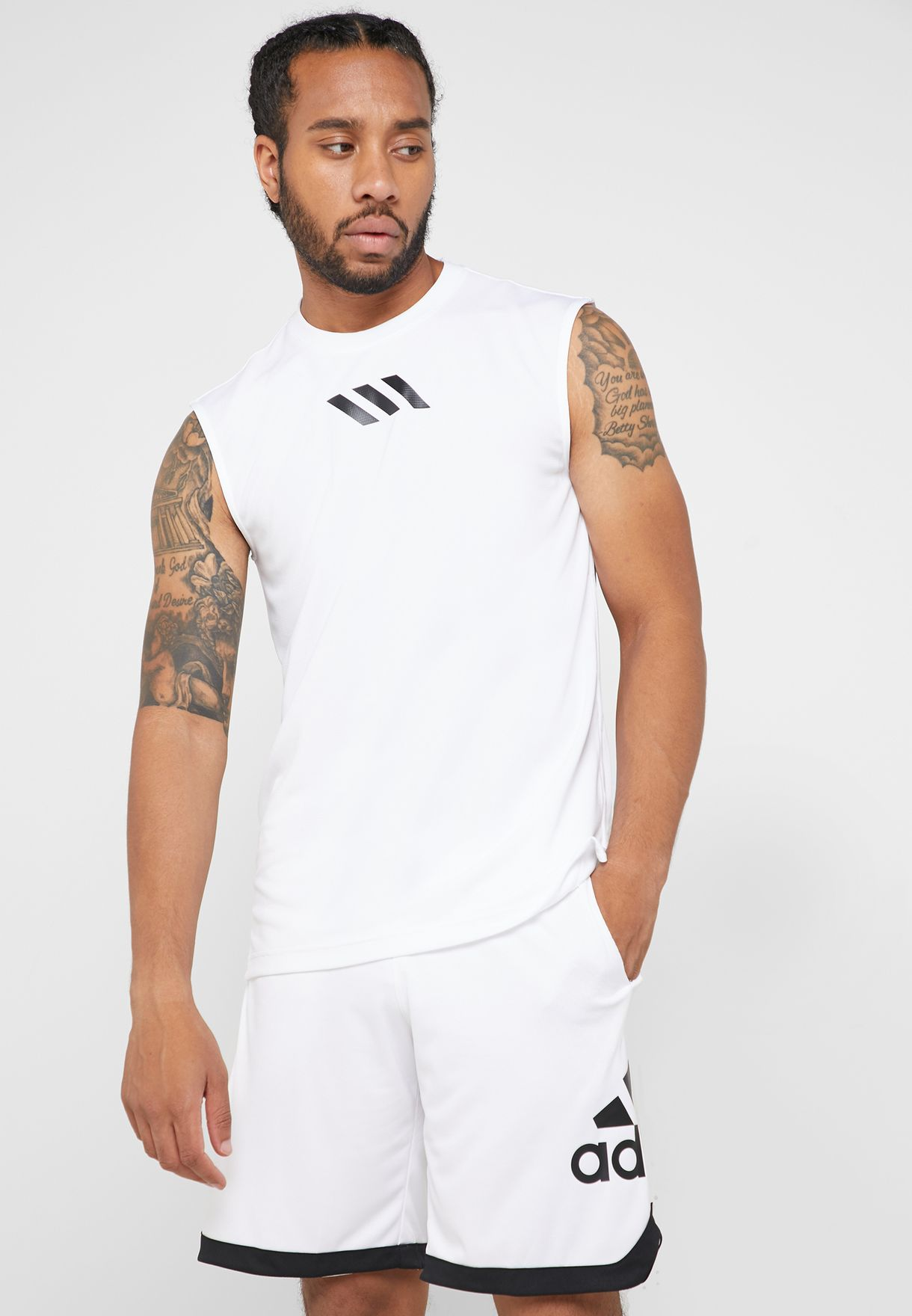 41b3ba455 Shop adidas white Pro Madness Tank DU1698 for Men in Bahrain ...
