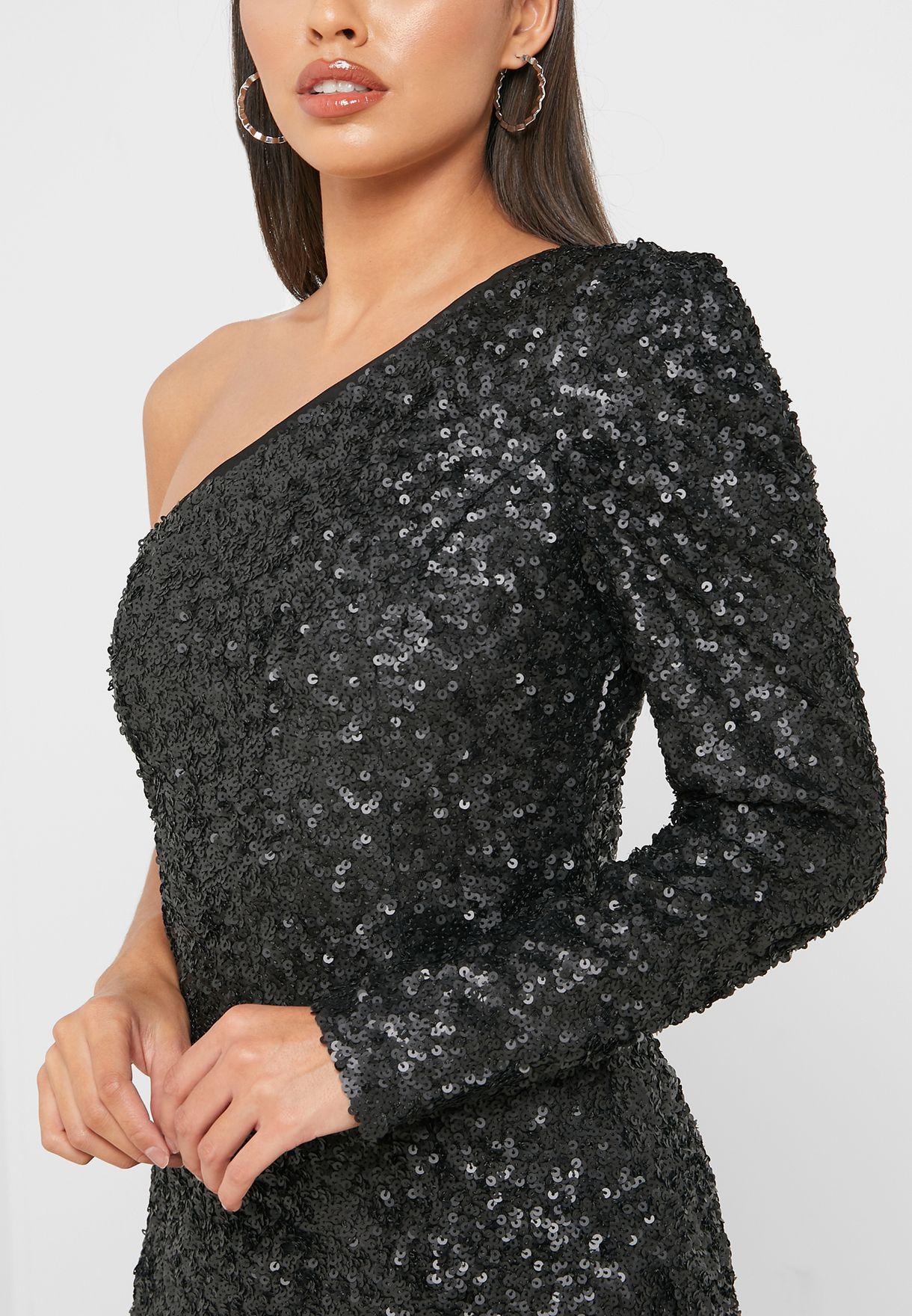 فستان بكتف واحد مزين بالترتر