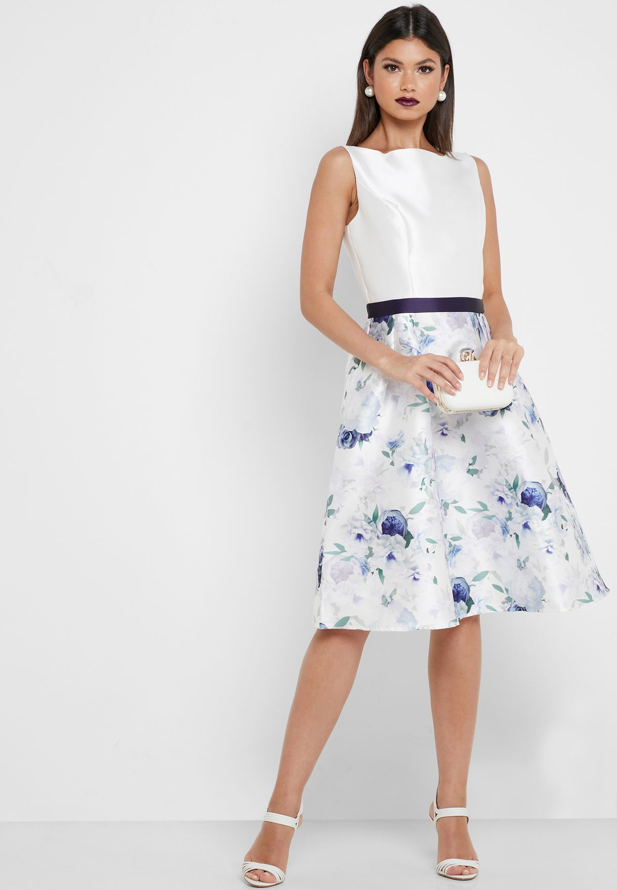 Contrasting Waist Floral Print Dress