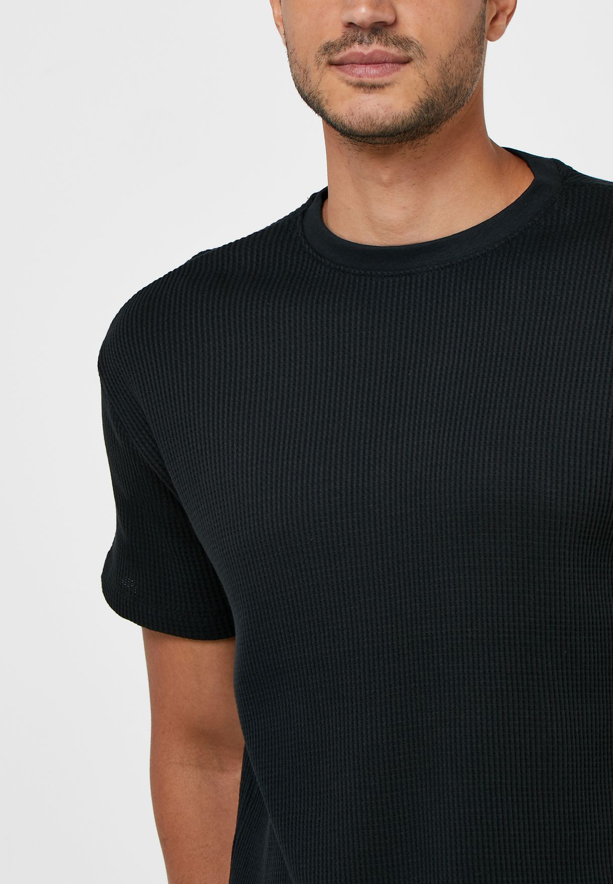 Ribbed Crew Neck T-Shirt