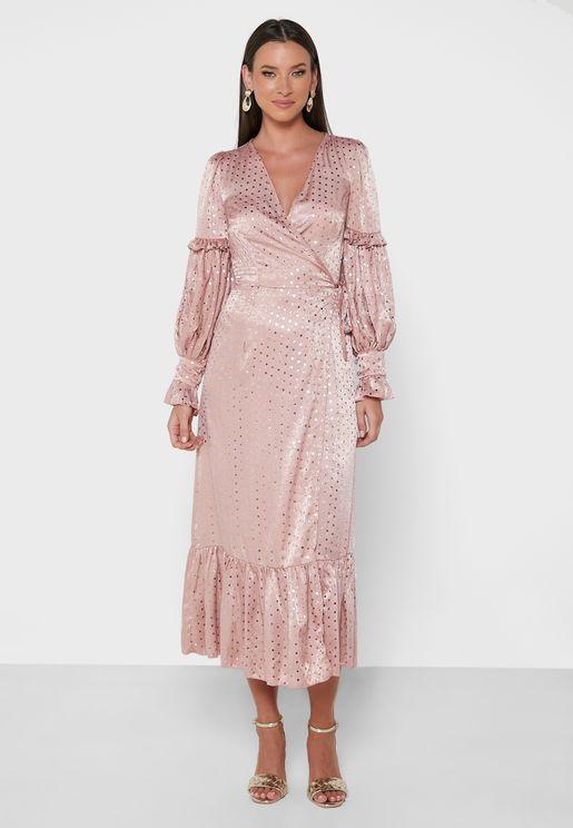 Ruffle Pleat Detail Wrap Dress
