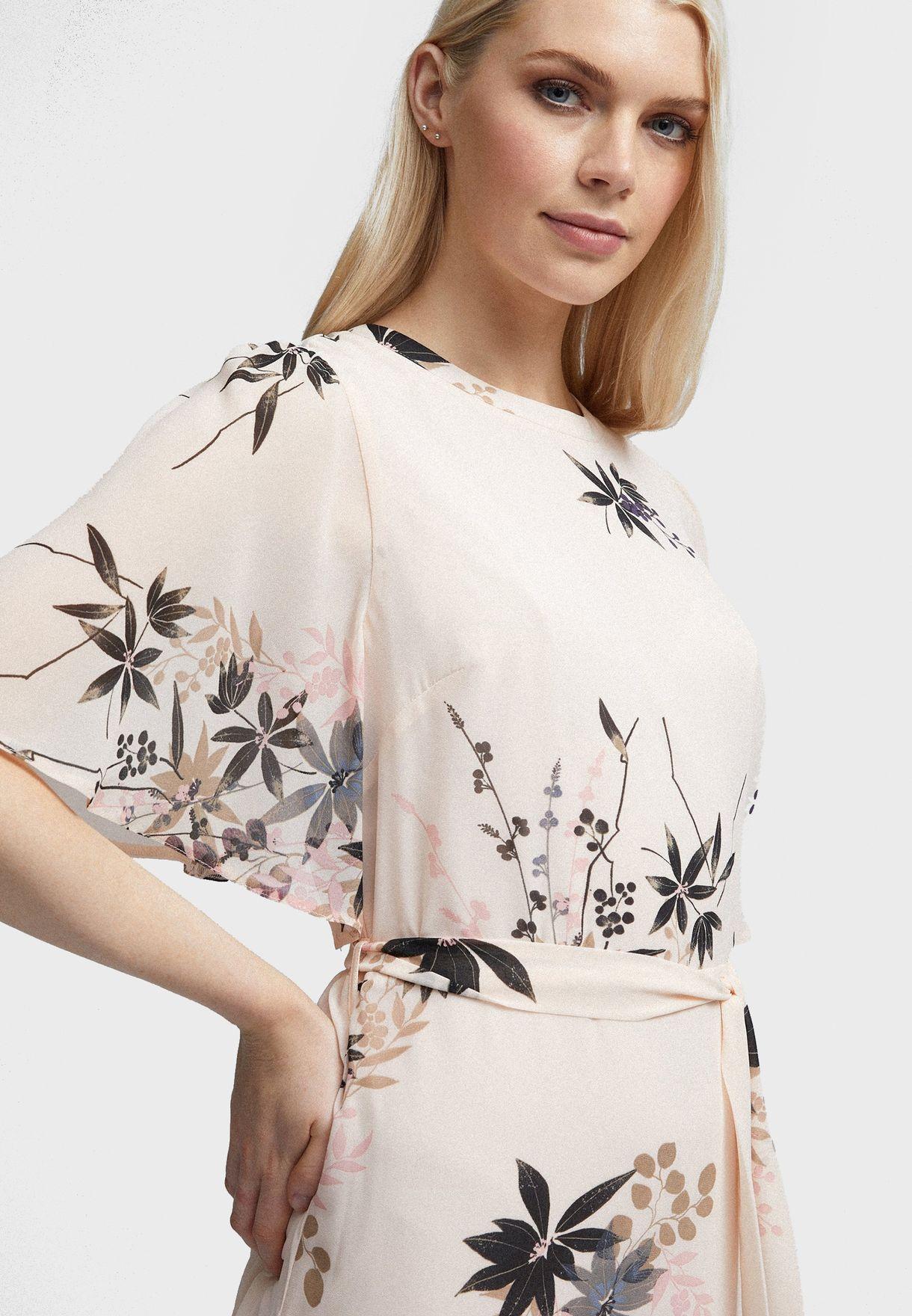 Dorothy Perkins Printed Sheer Sleeve Dress - Women Clothing uy5V5