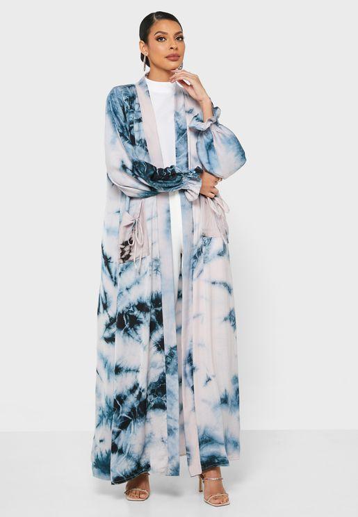 Balloon Sleeves Printed Abaya