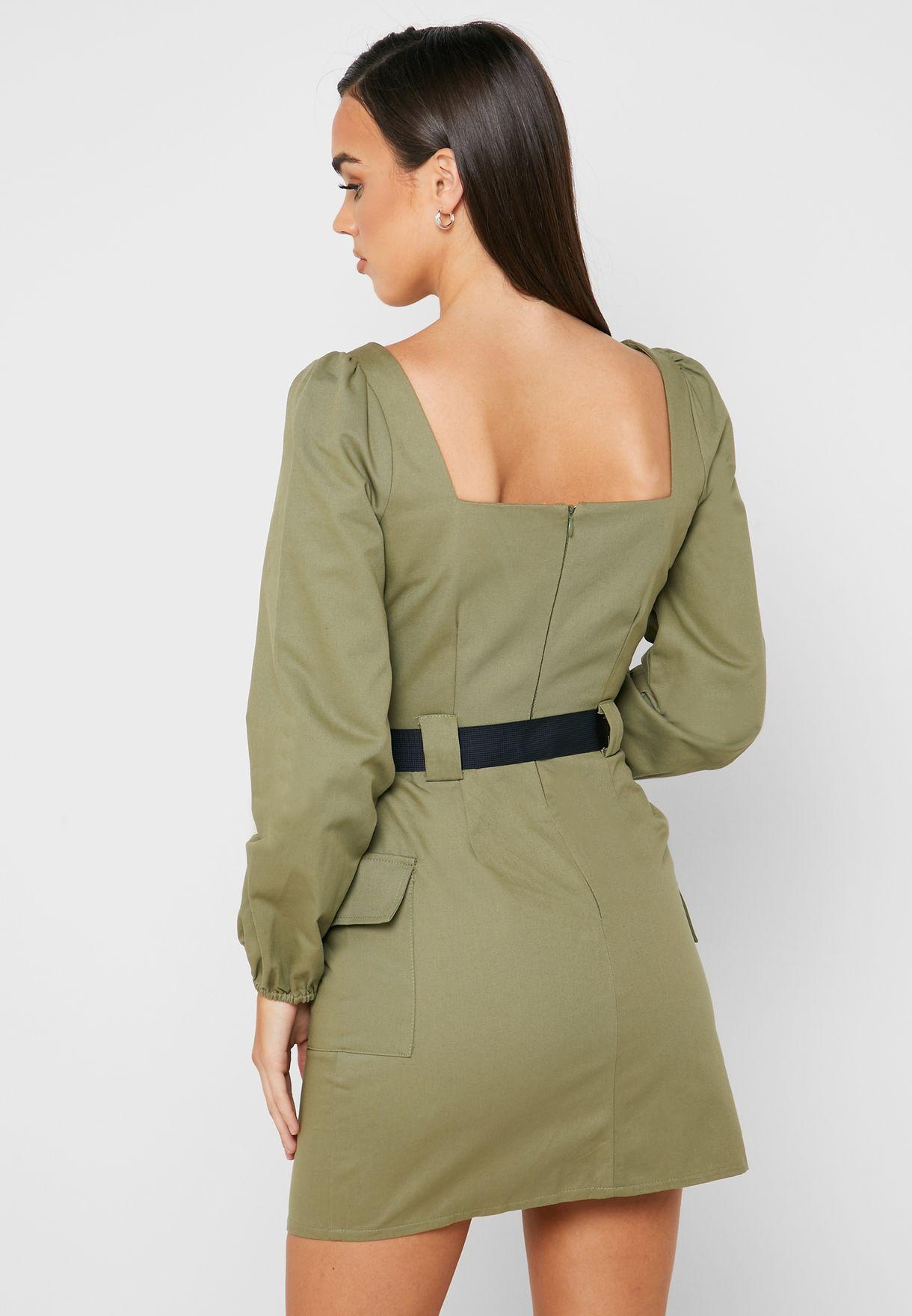Square Neck Belted Dress