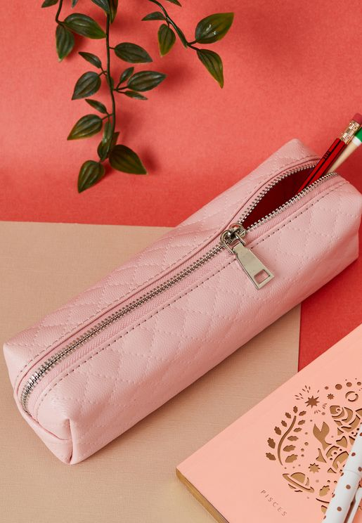 Pink Quilted Pencil Case