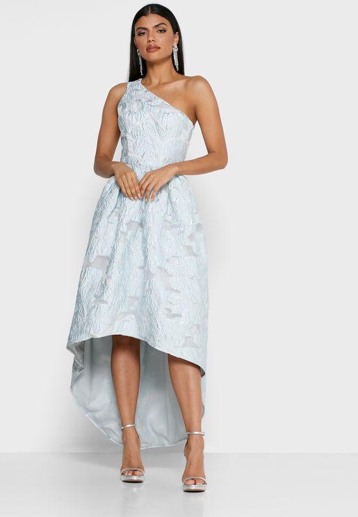 فستان بكتف واحد مع تطريز