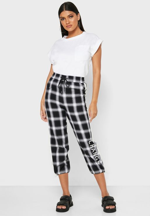 Checked Cuffed Pants