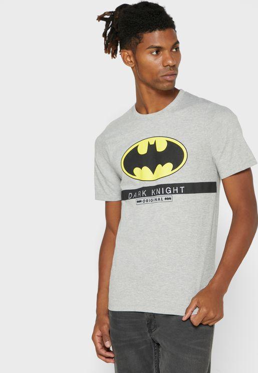تيشيرت بياقة دائرية وطبعة باتمان
