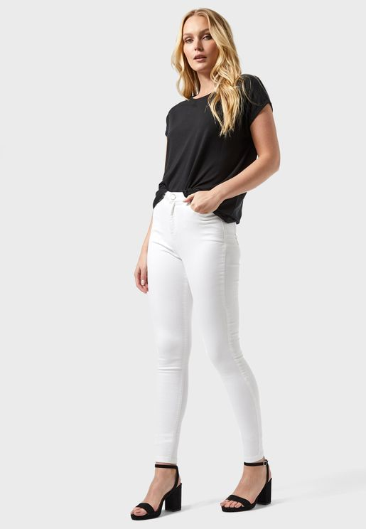 High Waist Ankle Grazer Jeans