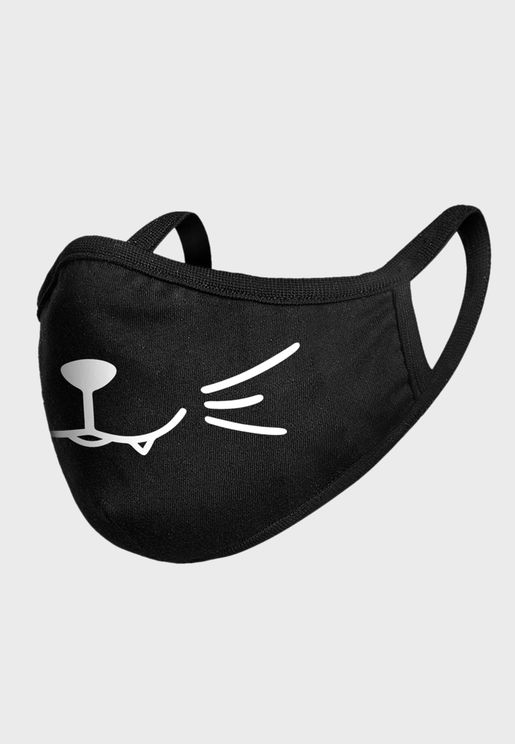 Kids Smiling Cat Face Mask