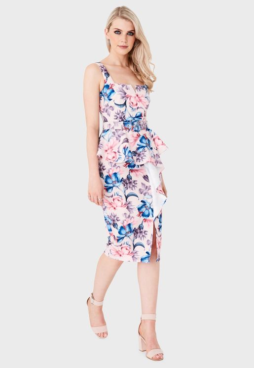 Floral Print Pleated Detail Dress