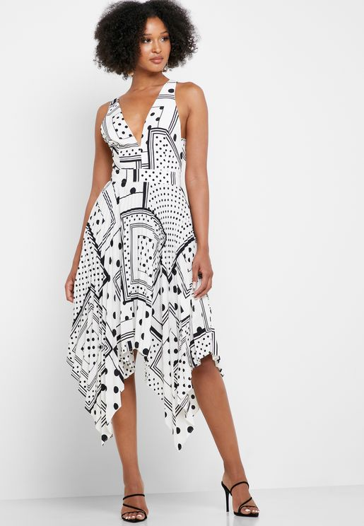 Dot Print Pleated Plunge Dress