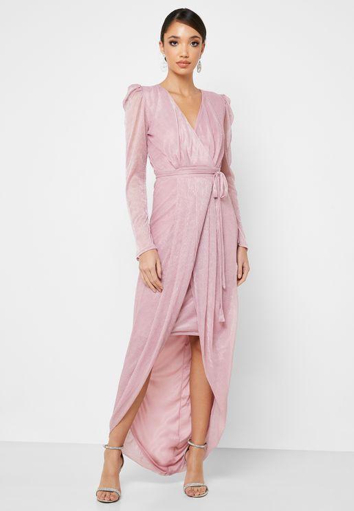 Metallic Plisse Wrap Front Maxi Dress