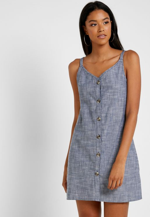 Button Through Chambray Dress