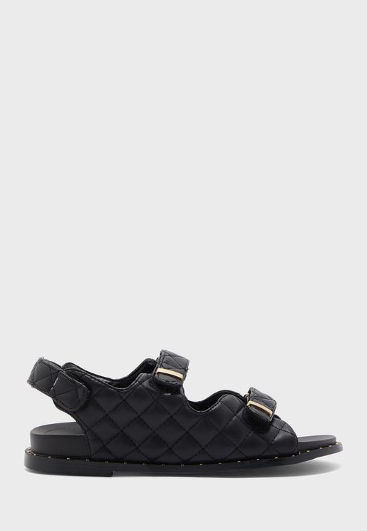Quilted Double Strap Sporty Sandal