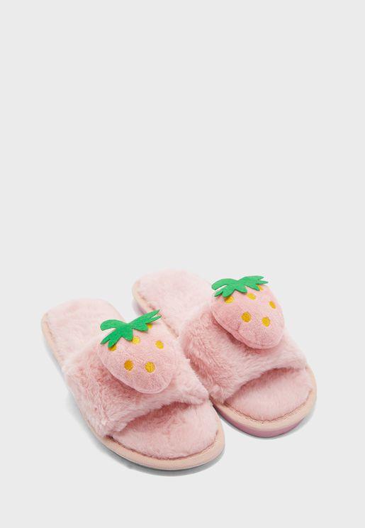 Strawberry  Open Toe Bedroom Slippers