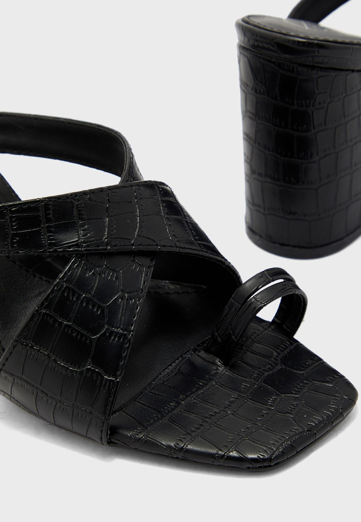 Thick Croc Crossover Toe Post Heel Sandal