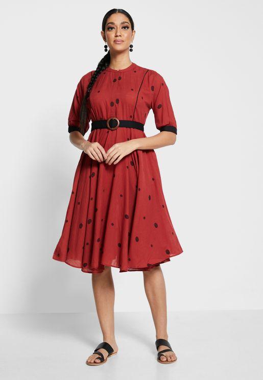 Earthen  Polka Belted  A-Line Dress
