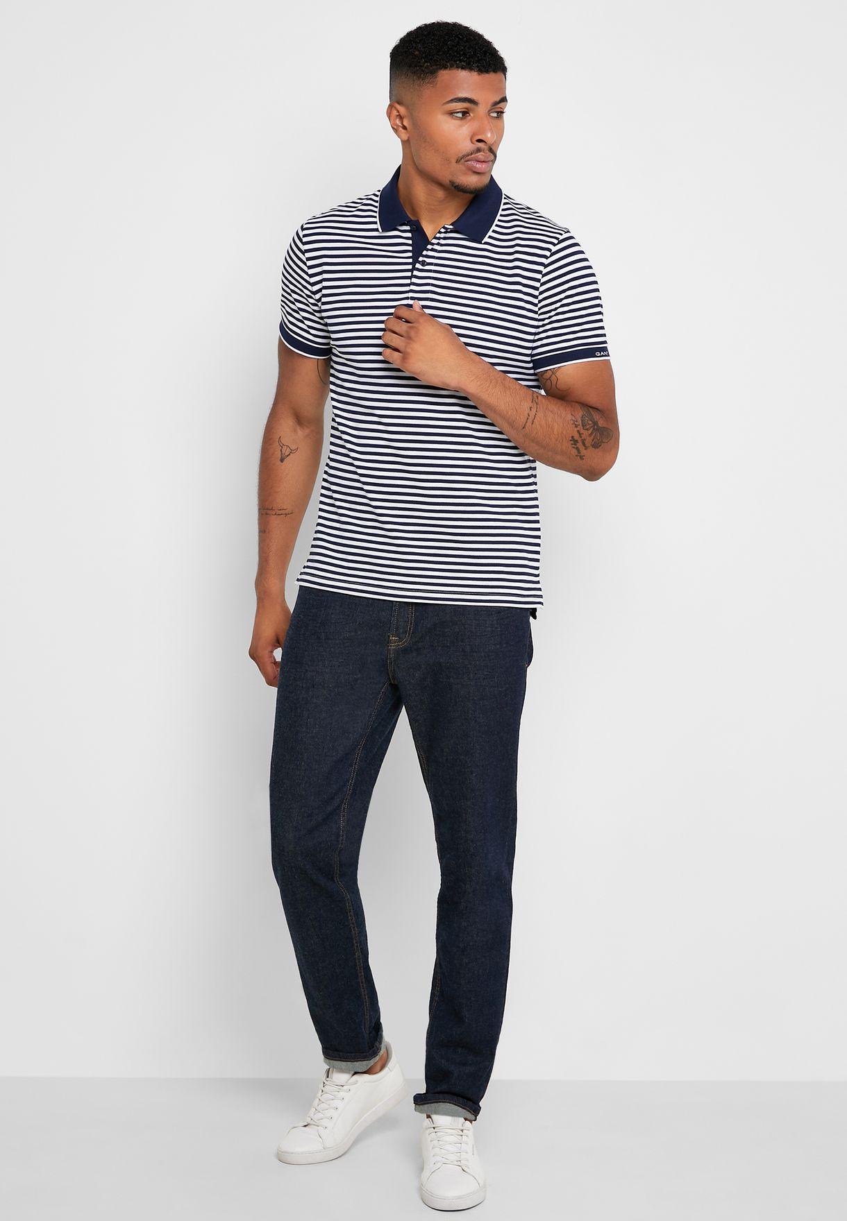 Contrast Edge Striped Polo