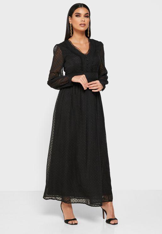 Dotted Sheer Overlay Midi Dress