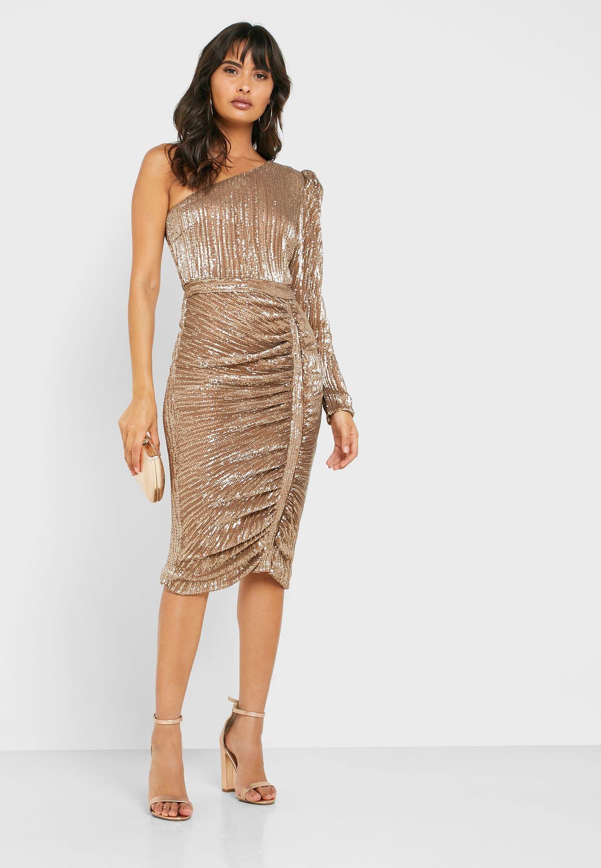 One Shoulder Sequin Ruched Dress