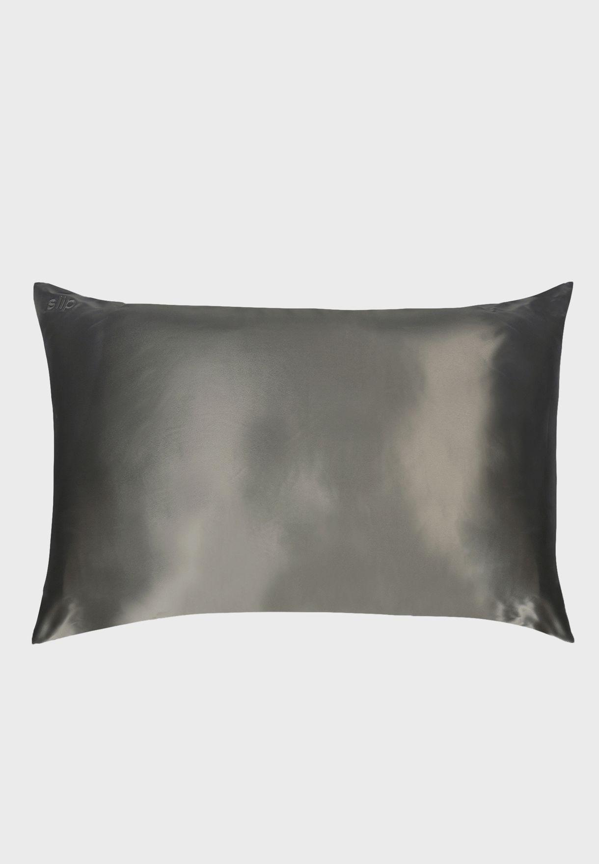 Queen Size Silk Pillow Case - Charcoal