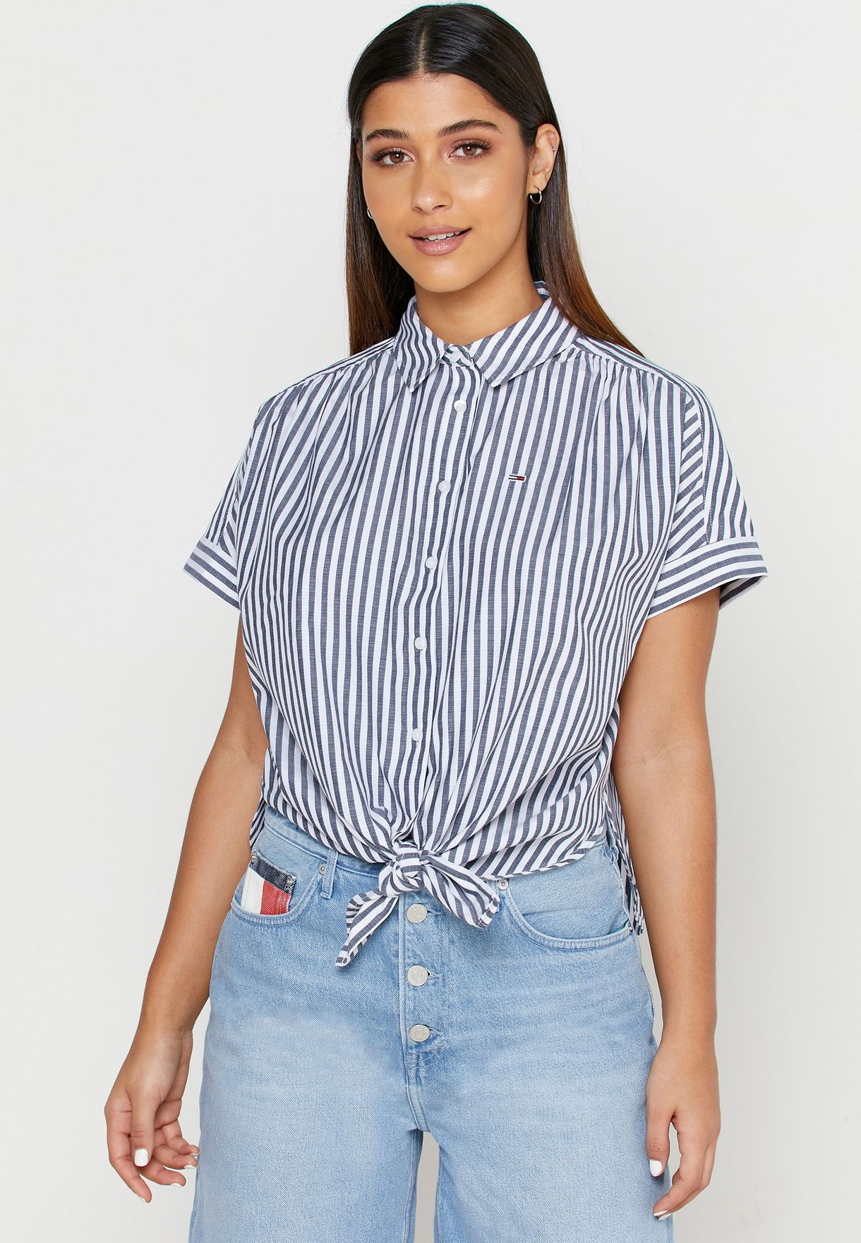 Front Knot Striped Shirt