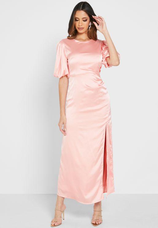 Satin Side Ruched Dress