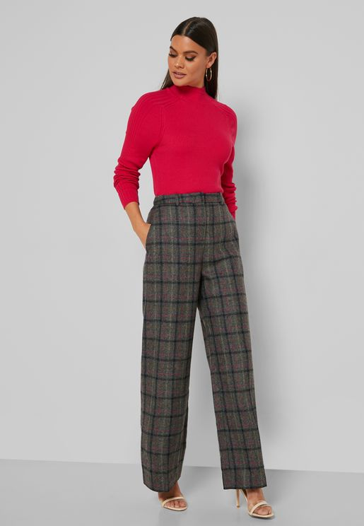 Tr Ellen Wide Leg Checked Pants