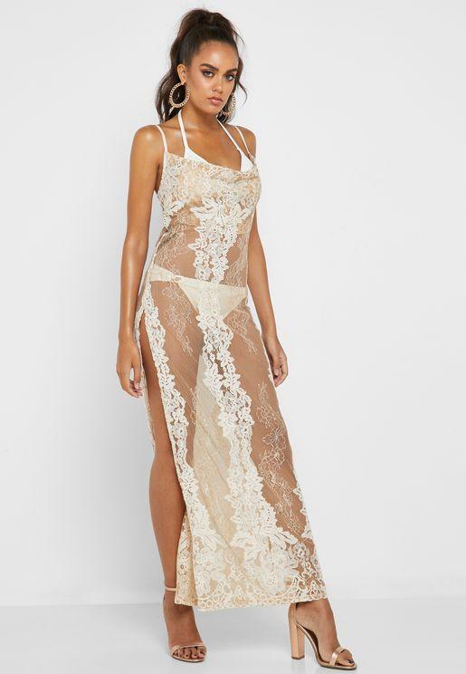Lace Cowl Neck Maxi Beach Dress