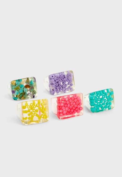 5 Pack Of Chunky Bright Plastic Rings