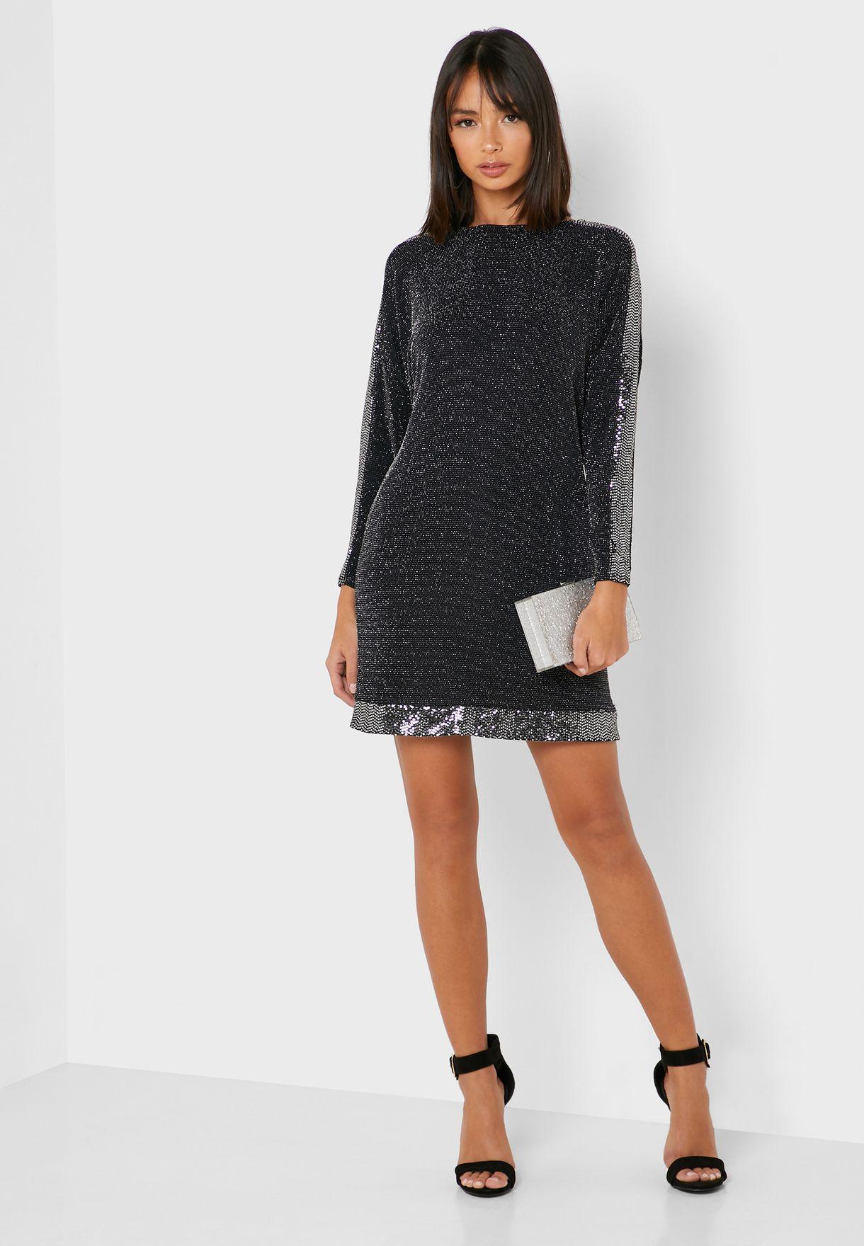Sequin Trim Batwing Sleeve Dress