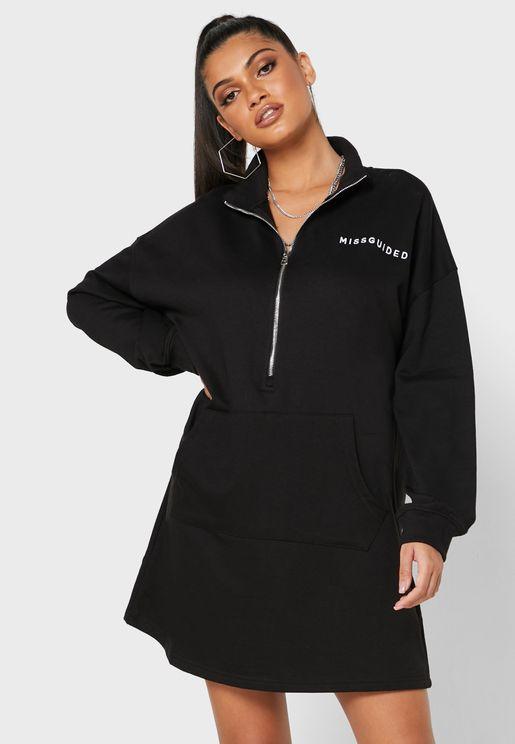 Zip Detail Sweat Dress