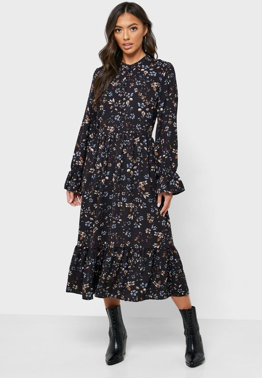 Ruflle Trim Sleeve Printed Dress