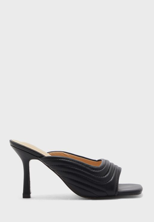 Curved Quilted Square Toe Mule Sandal