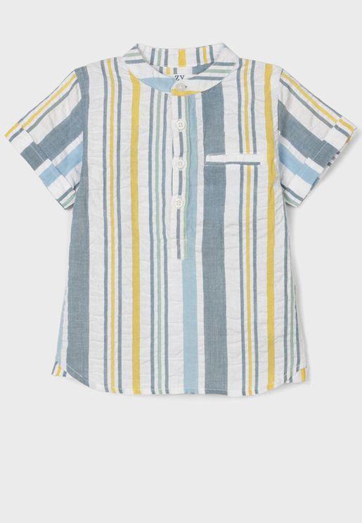 Infant Striped Half Placket Shirt