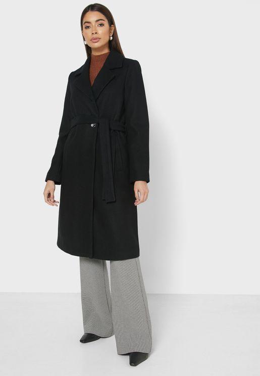 معطف طويل بحزام خصر